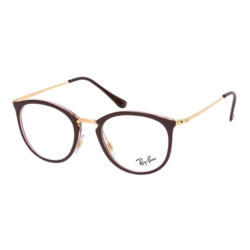 Óculos de Grau Feminino Ray Ban RX7140 Redondo Marrom e Dourado