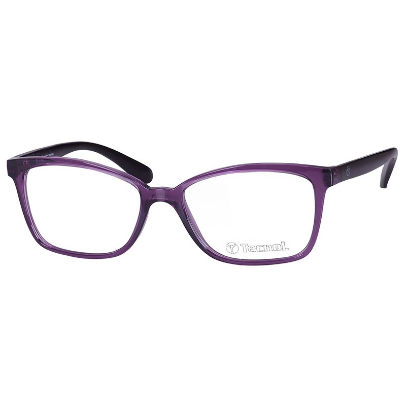 Óculos de Grau Feminino Tecnol TN3052 Roxo Translúcido e Preto