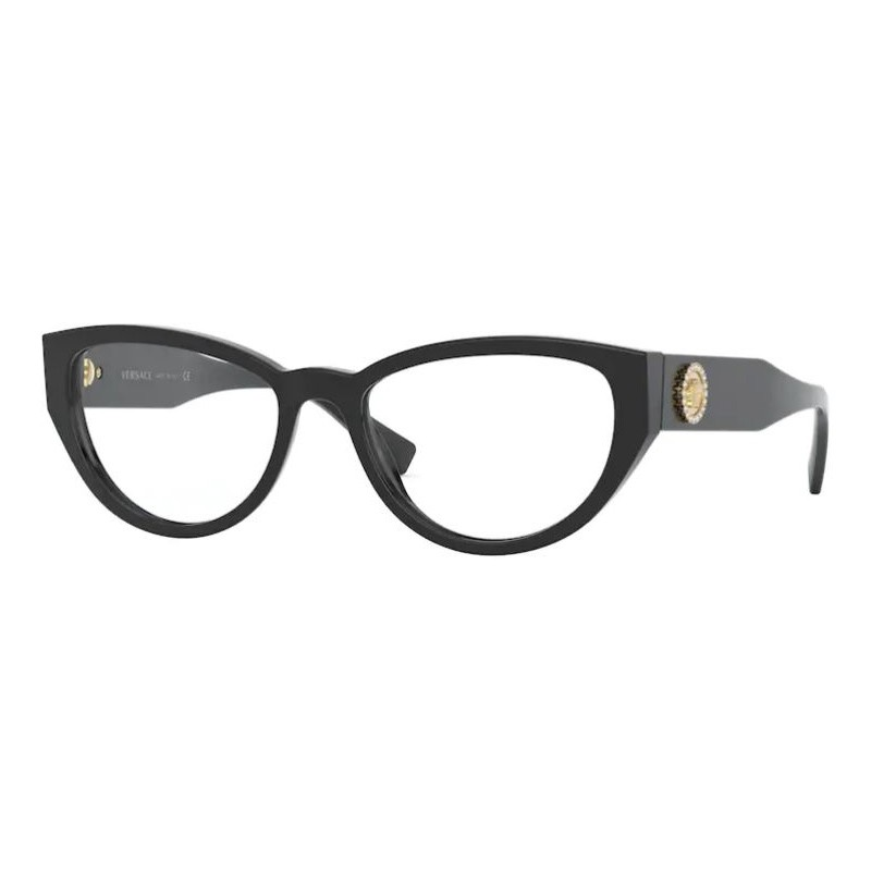 Óculos de Grau Feminino Versace Gatinho VE3280B Preto Brilho