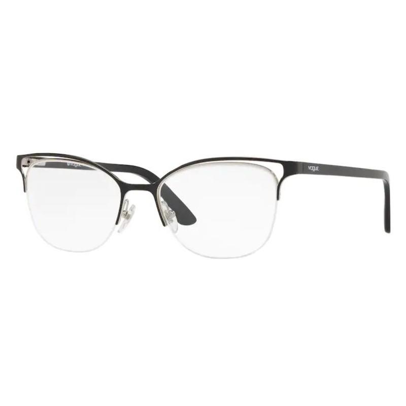 Óculos de Grau Feminino Vogue VO4087L Metal Preto Brilho Gatinho