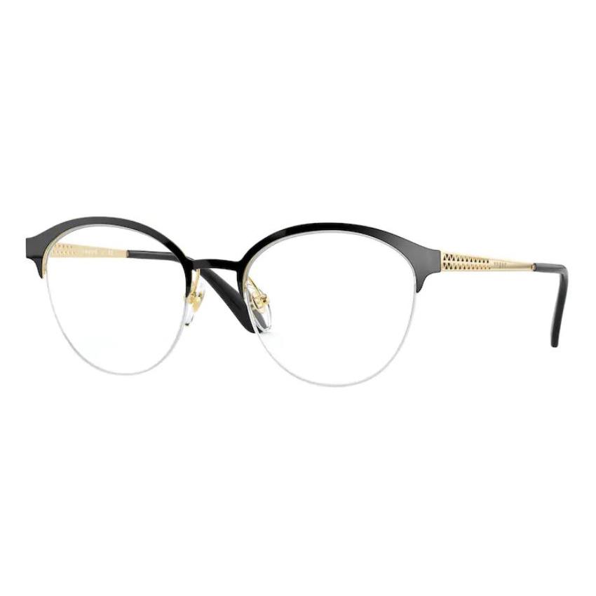 Óculos de Grau Feminino Vogue VO4176 Preto com Dourado Redondo