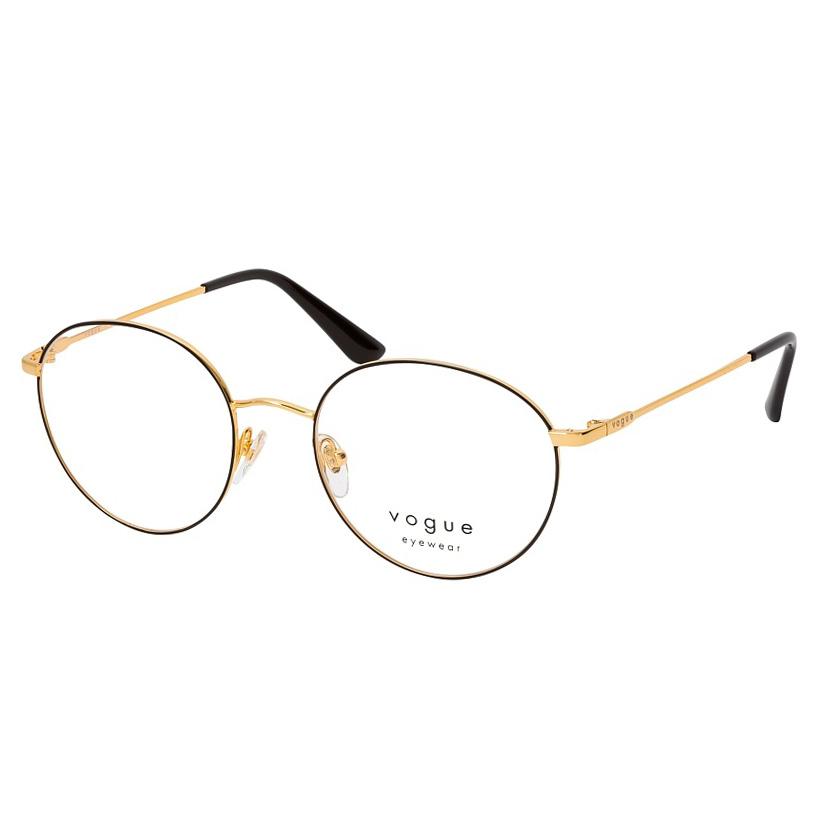 Óculos de Grau Feminino Vogue VO4177 Redondo Preto com Dourado