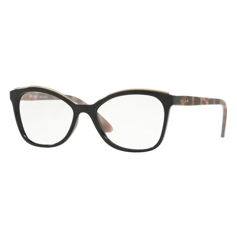 Óculos de Grau Feminino Vogue VO5160L Preto Brilho com Marrom