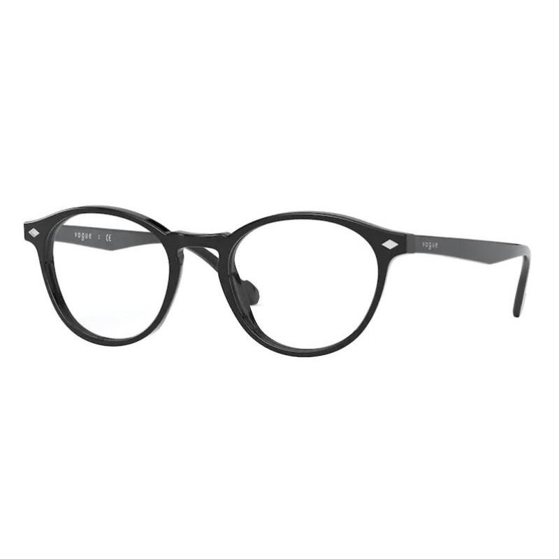Óculos de Grau Feminino Vogue VO5326 Redondo Preto Brilho