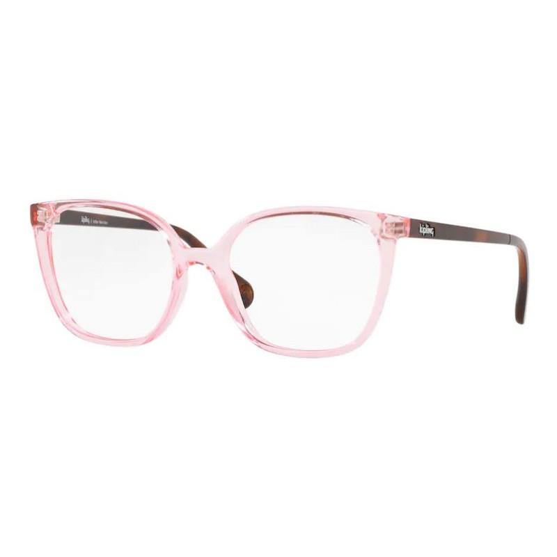 Óculos de Grau Kipling KP3128 Quadrado Rosa Brilho com Marrom