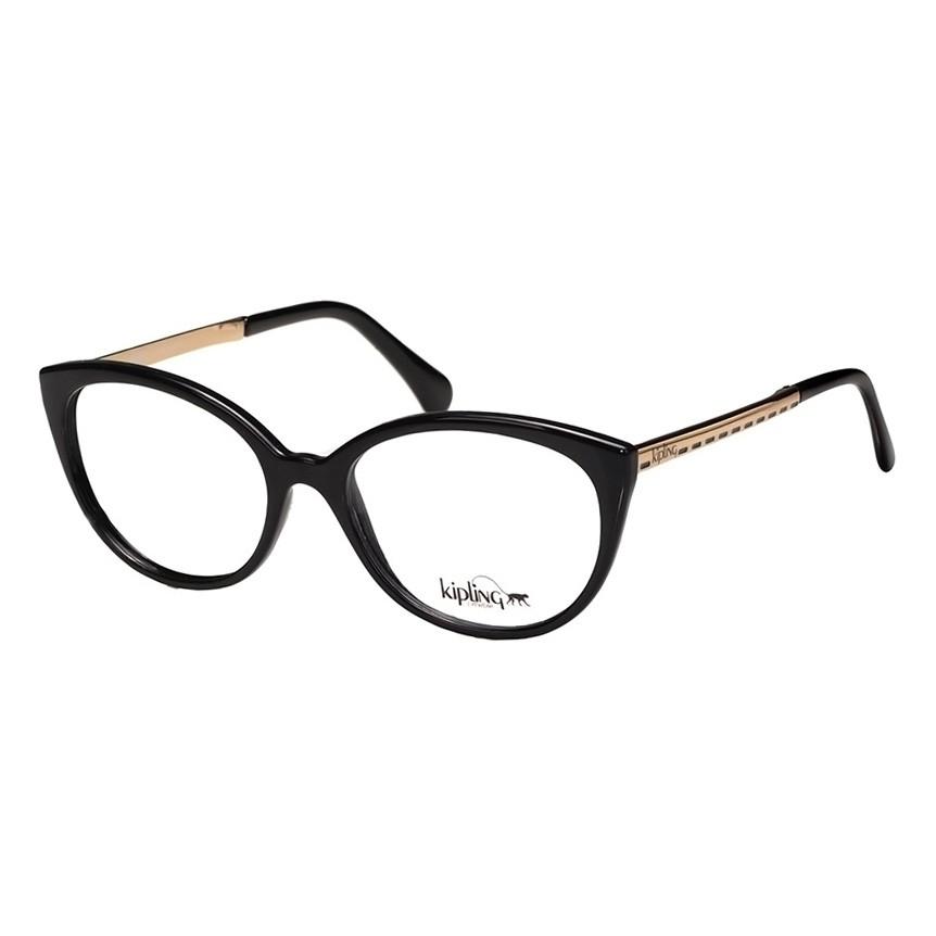 Óculos de Grau Kipling Preto Brilho KP3093 Feminino Gatinho
