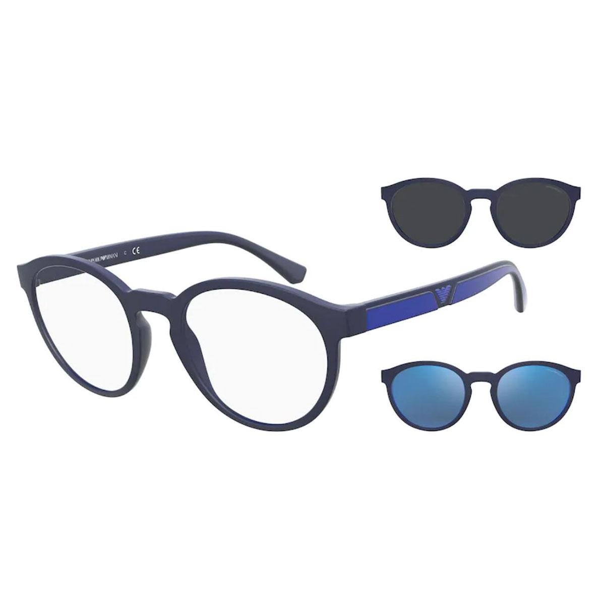 Óculos de Grau Masculino Clip On EA4152 Azul Fosco Redondo