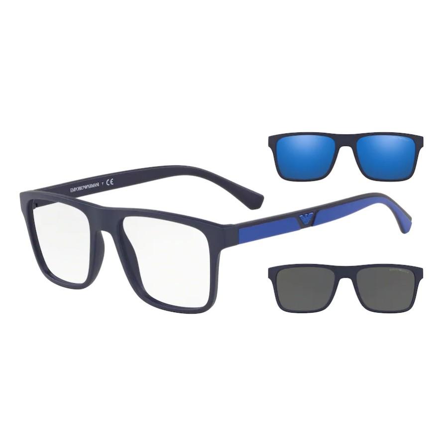Óculos de Grau Masculino Empório Armani EA4115 Clipon Azul fosco
