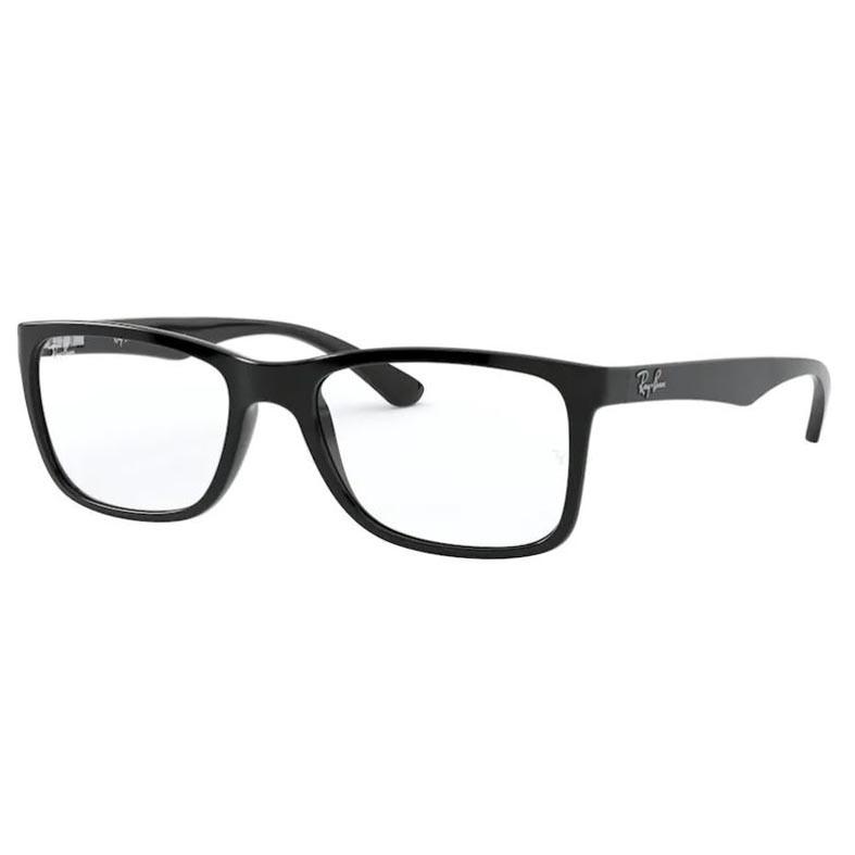Óculos de Grau Masculino Ray Ban RX7027L Preto Brilho Tamanho 54