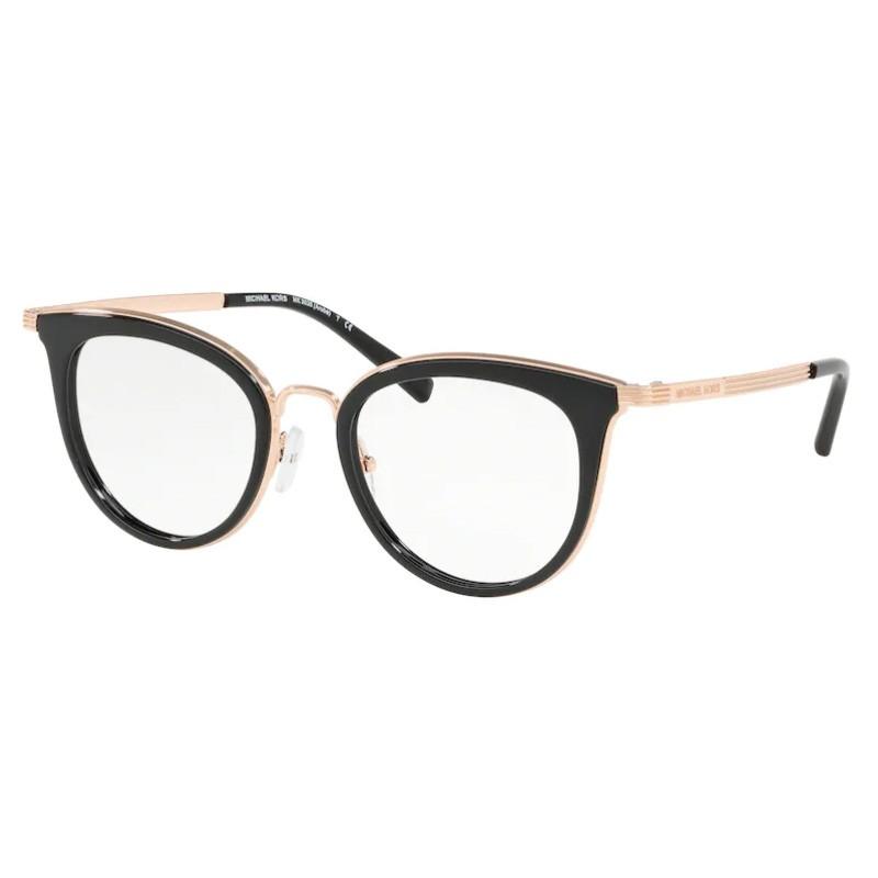 Óculos de Grau Michael Kors Aruba MK3026 Preto Brilho com Dourado