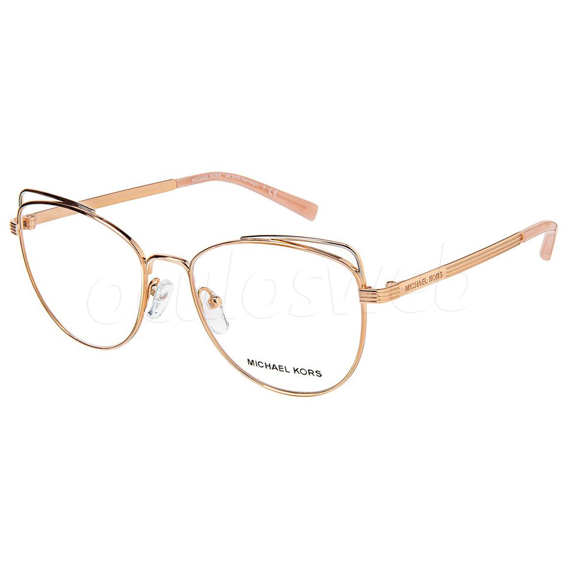 Óculos de Grau Michael Kors Santiago Gatinho MK3025 Dourado Rose