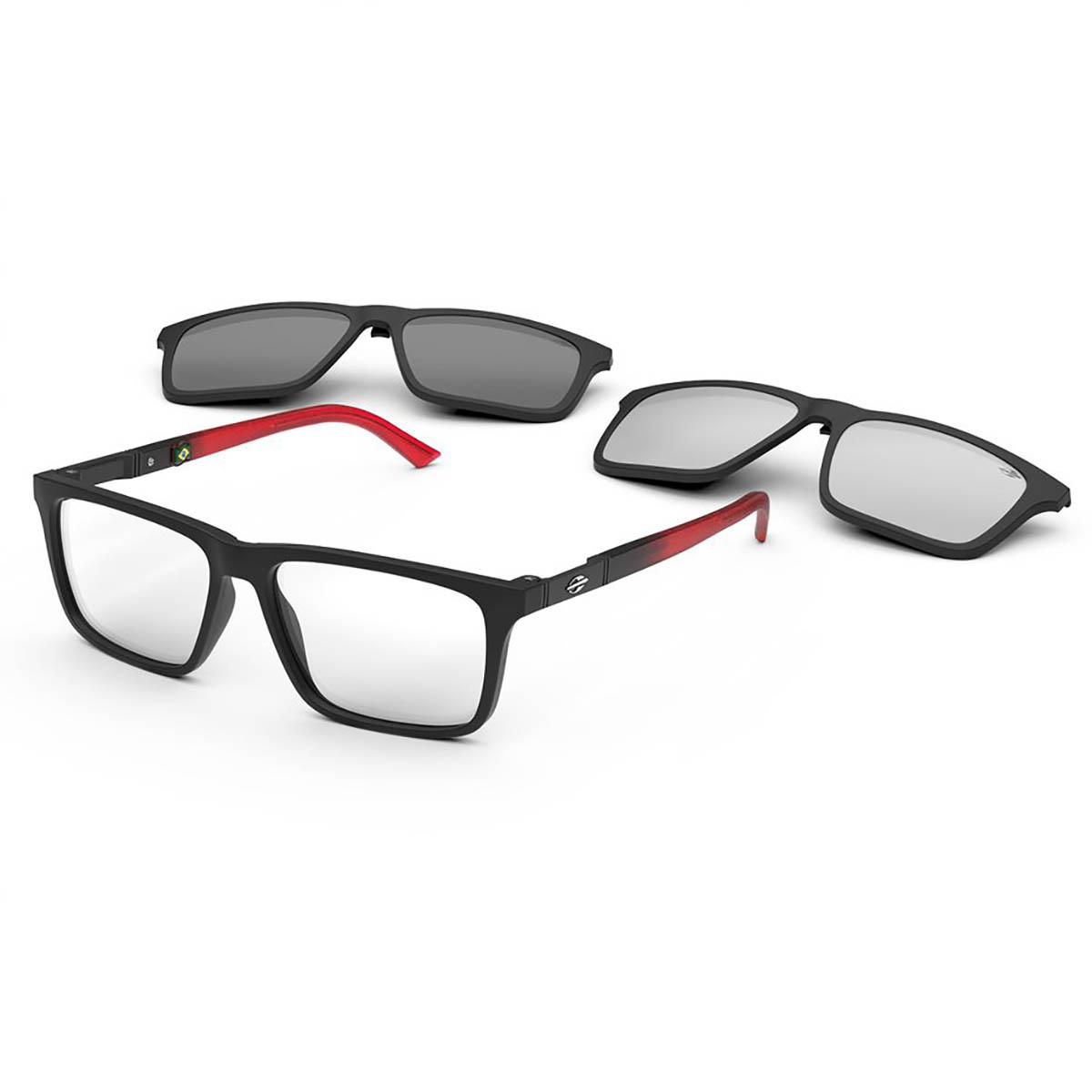 Óculos de Grau Mormaii Clipon M6112 Swap 4 Preto Fosco e Vermelho