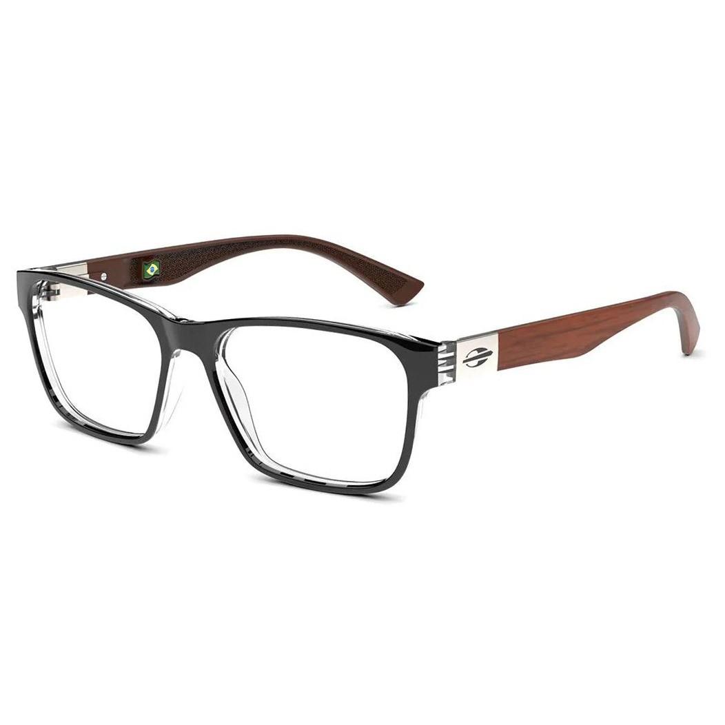 Óculos de Grau Mormaii Seul M6074 Preto Brilho com Madeira