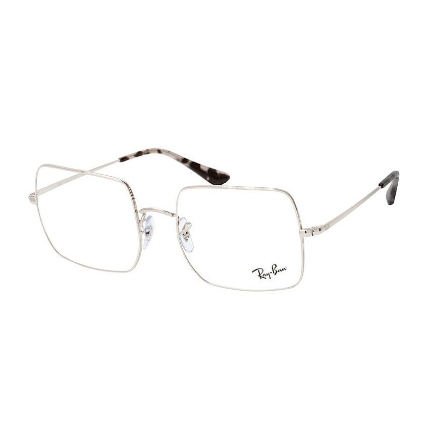 Óculos de Grau Quadrado Ray Ban Square RX1971V Metal Prata Brilho