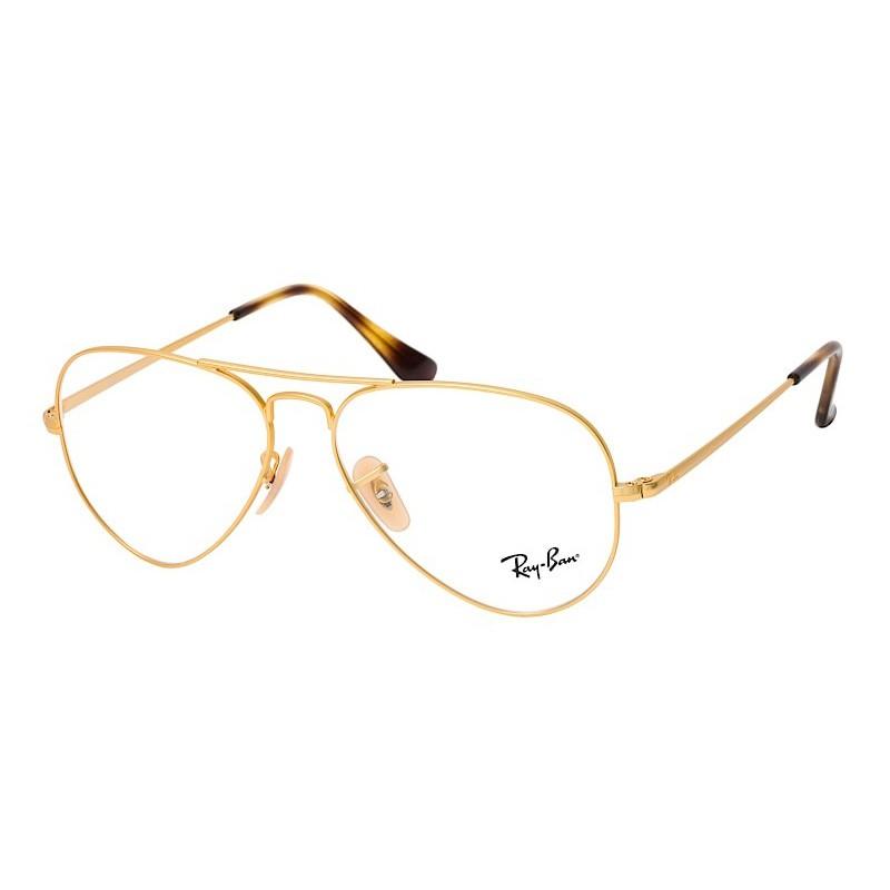 Óculos de Grau Ray Ban Aviador RX6489 Metal Dourado Fosco