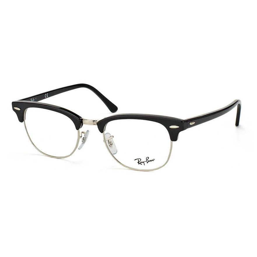 Óculos de Grau Ray Ban Clubmaster RX5154 Preto Brilho com Prata