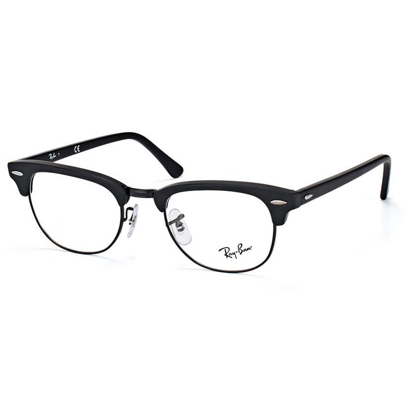 Óculos de Grau Ray Ban Clubmaster Unissex RX5154 Preto Fosco Tamanho 51