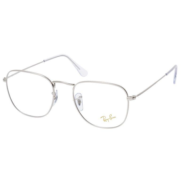 Óculos de Grau Ray Ban Frank Unissex RX3857V Metal Prata Brilho Tamanho 51