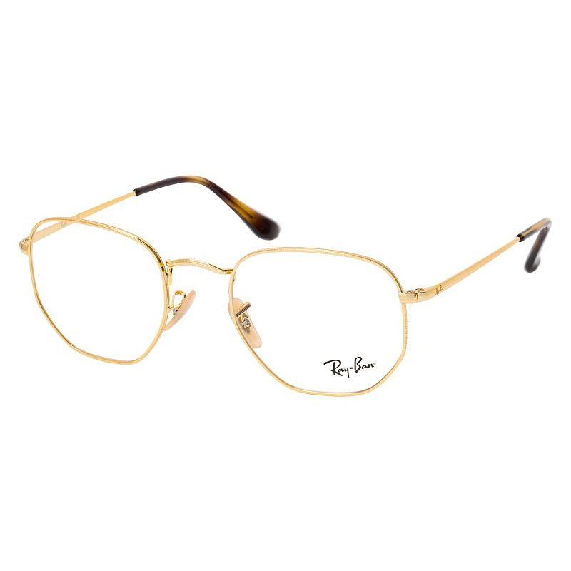 Óculos de Grau Ray Ban Hexagonal RX6448 Metal Dourado Brilho