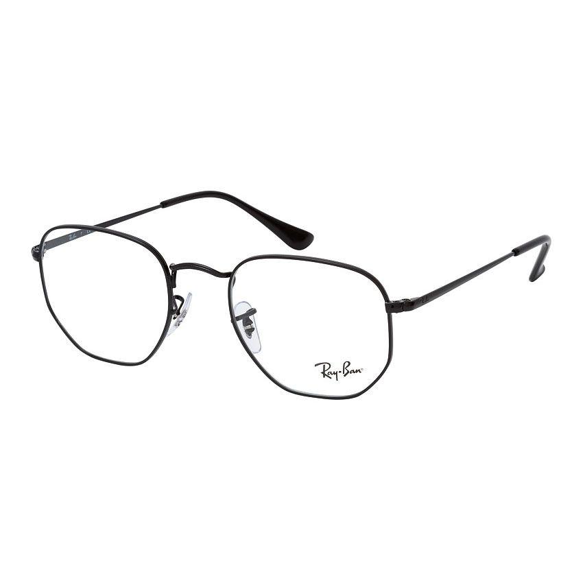 Óculos de Grau Ray Ban Hexagonal RX6448 Metal Preto Brilho