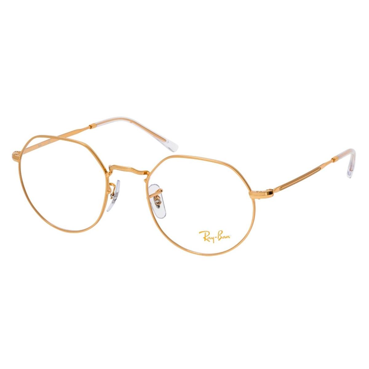 Óculos de Grau Ray-Ban Jack RX6465 Dourado Brilho Tamanho 51