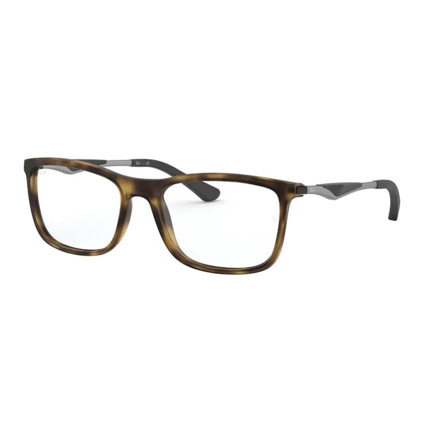 Óculos de Grau Ray Ban Quadrado RX7029 Marrom Demi Fosco e Prata