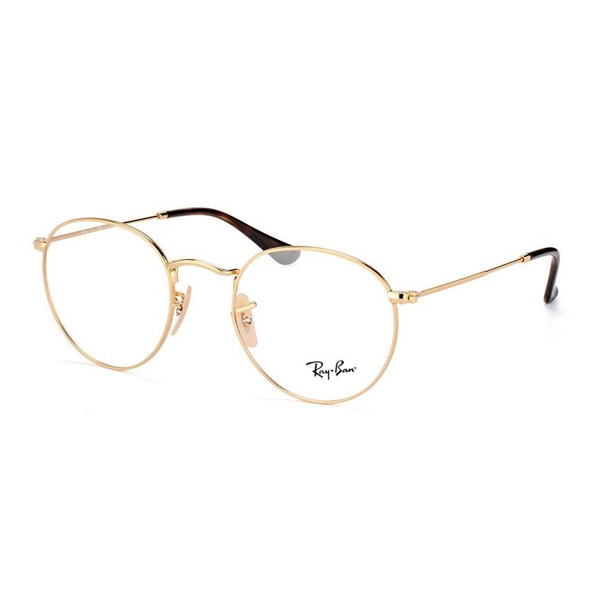 Óculos de Grau Ray Ban Round Metal RX3447V Dourado Brilho