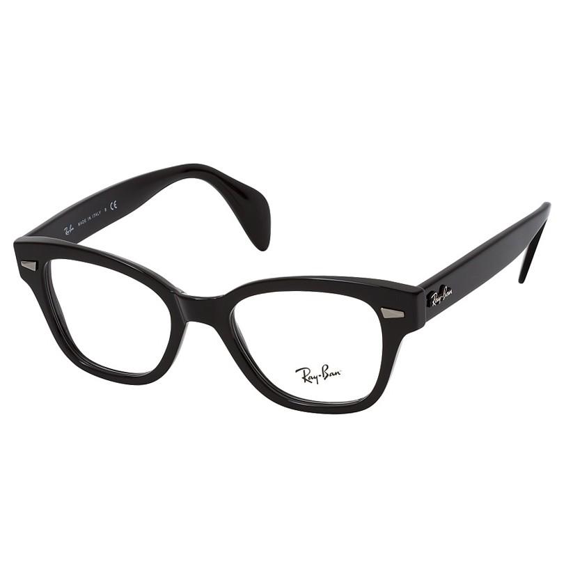 Óculos de Grau Ray Ban RX0880 Quadrado Preto Brilho Tamanho 49