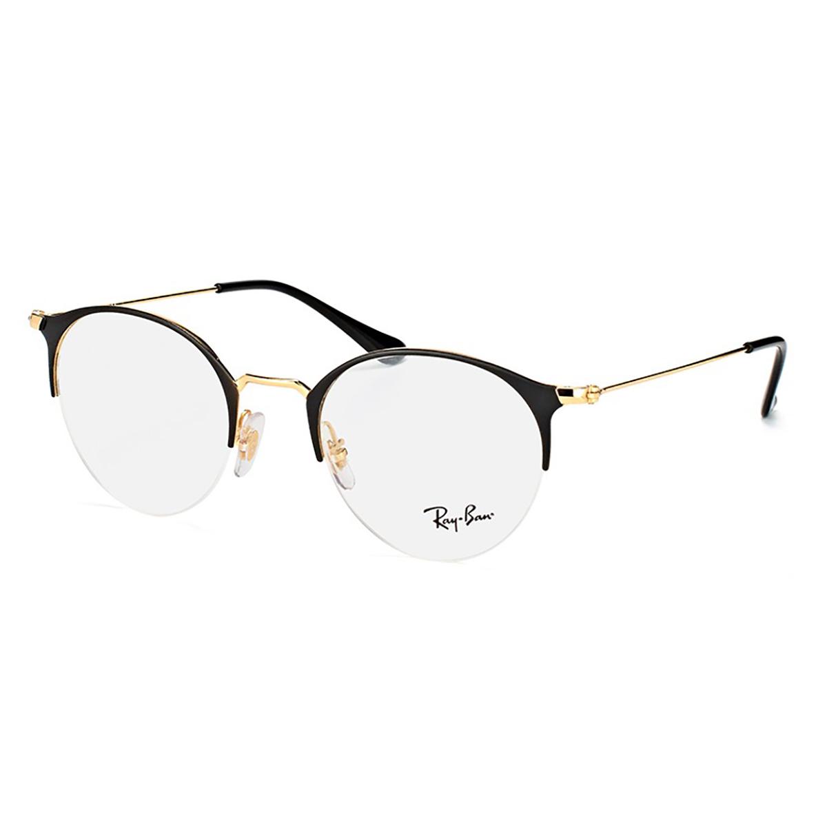 Óculos de Grau Ray Ban RX3578V Preto com Dourado Brilho Metal
