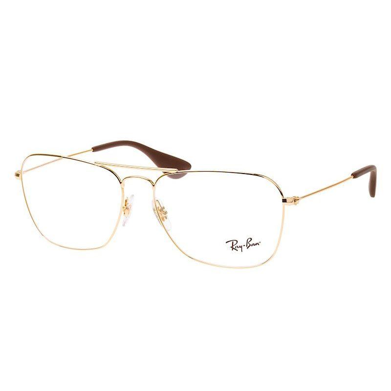 Óculos de Grau Ray Ban RX3610V Metal Quadrado Dourado Grande