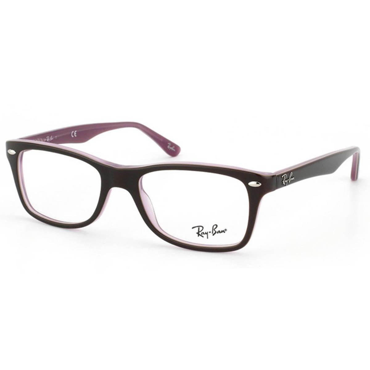 Óculos de Grau Ray Ban RX5228 Marrom Brilho com Rosa