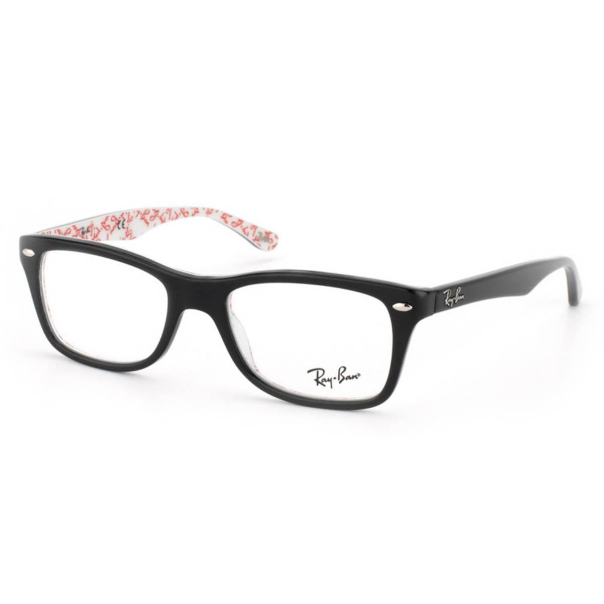 Óculos de Grau Ray Ban RX5228 Preto Brilho com Branco