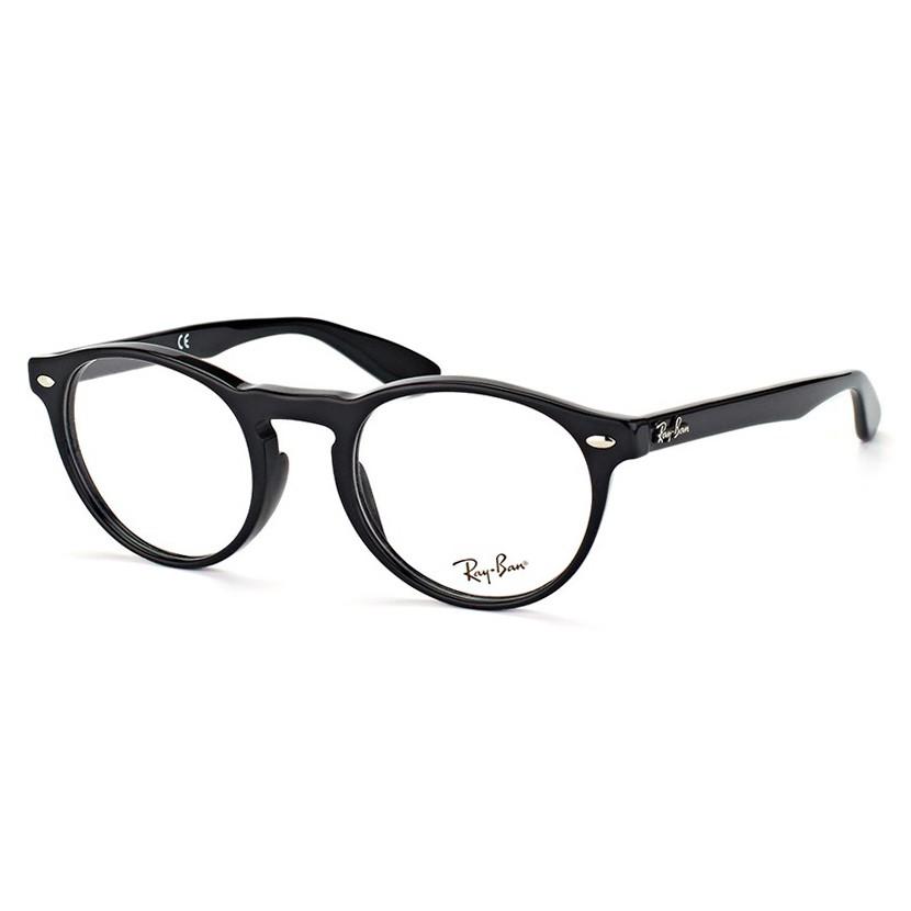 Óculos de Grau Ray Ban RX5283 Redondo Preto Brilho Tamanho 51