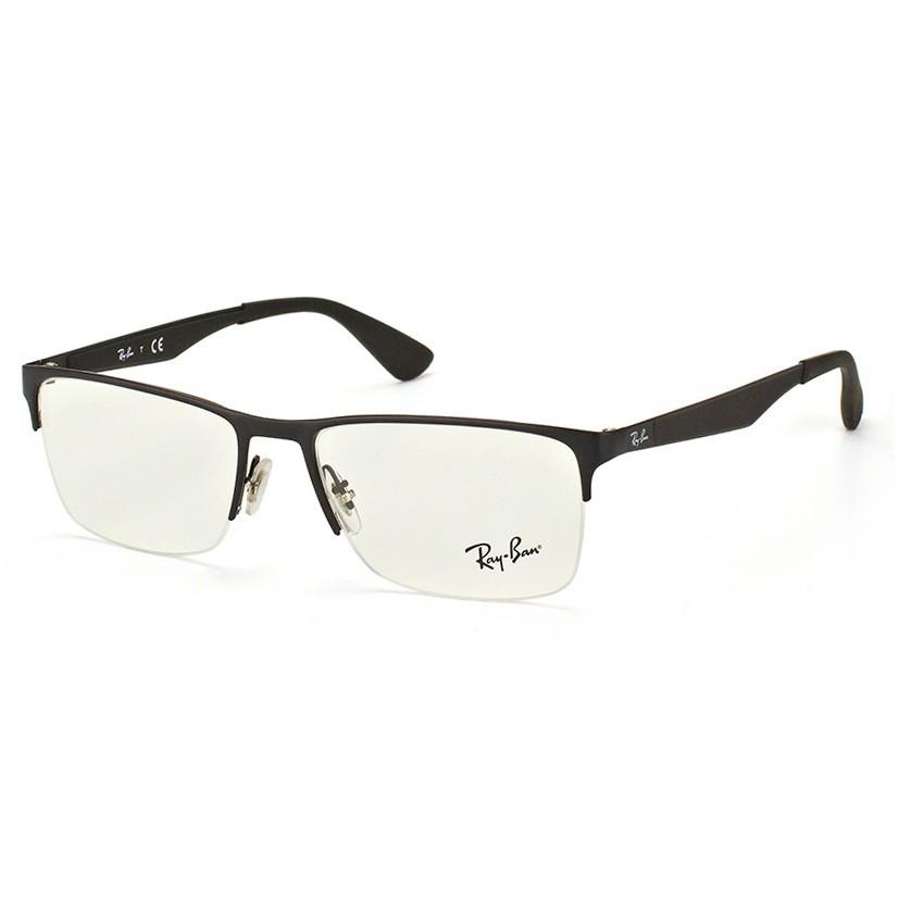 Óculos de Grau Ray Ban RX6335 Metal Preto Fosco Tamanho 56