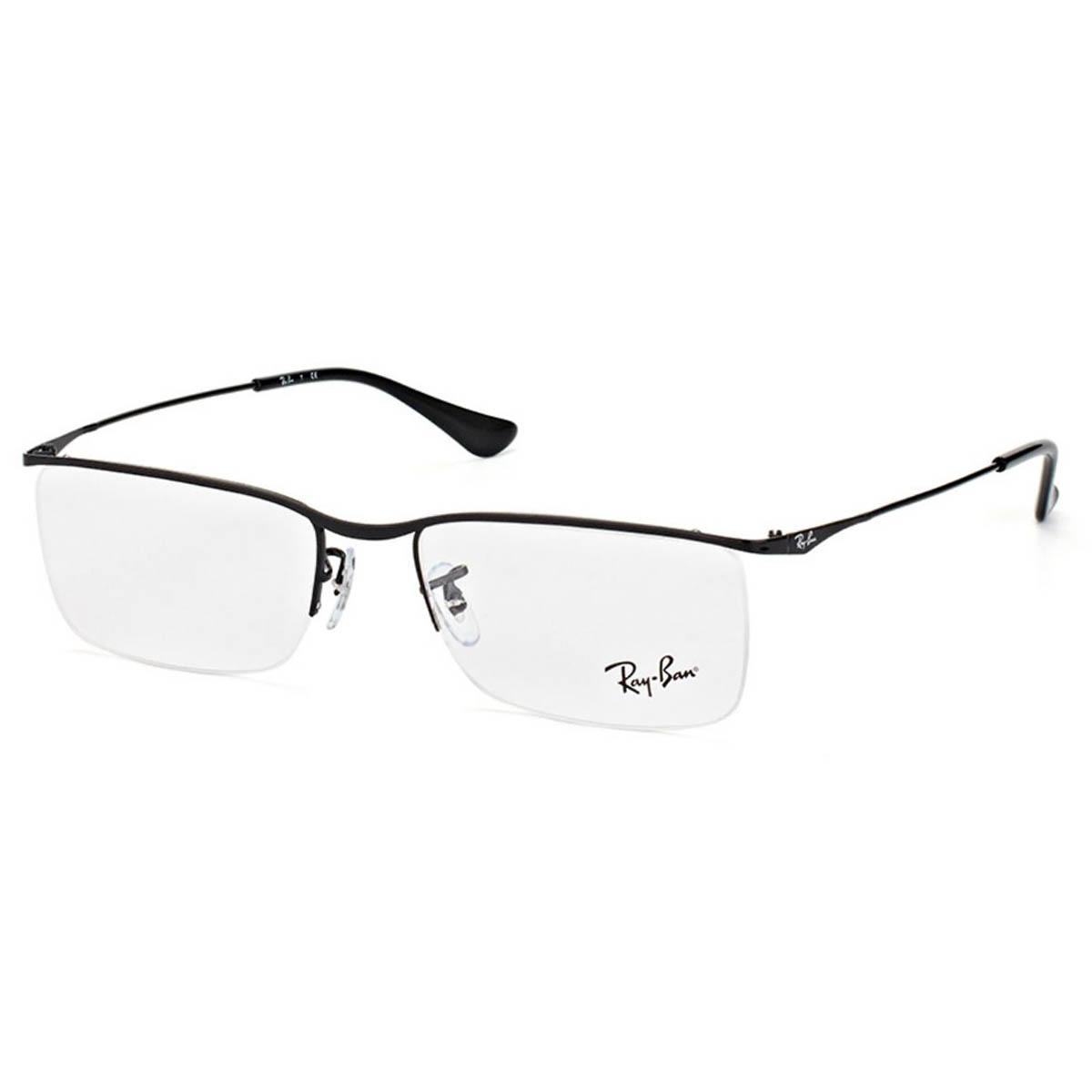 Óculos de Grau Ray Ban RX6370 Preto Brilho Retangular Masculino