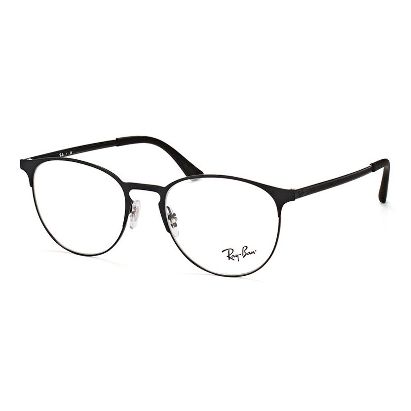 Óculos de Grau Ray Ban RX6375 Redondo Metal Preto Brilho e Fosco
