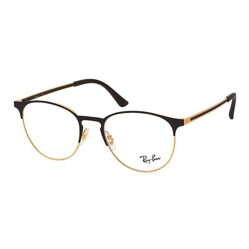 Óculos de Grau Ray Ban RX6375 Redondo Preto Fosco e Dourado
