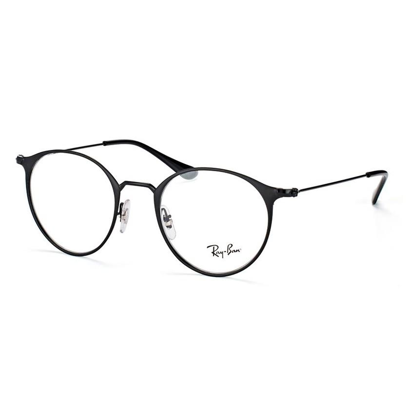 Óculos de Grau Ray Ban RX6378 Redondo Preto Brilho e Fosco
