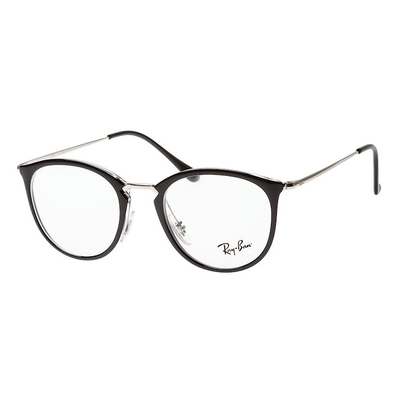 Óculos de Grau Ray Ban RX7140 Preto Brilho Com Prata Redondo