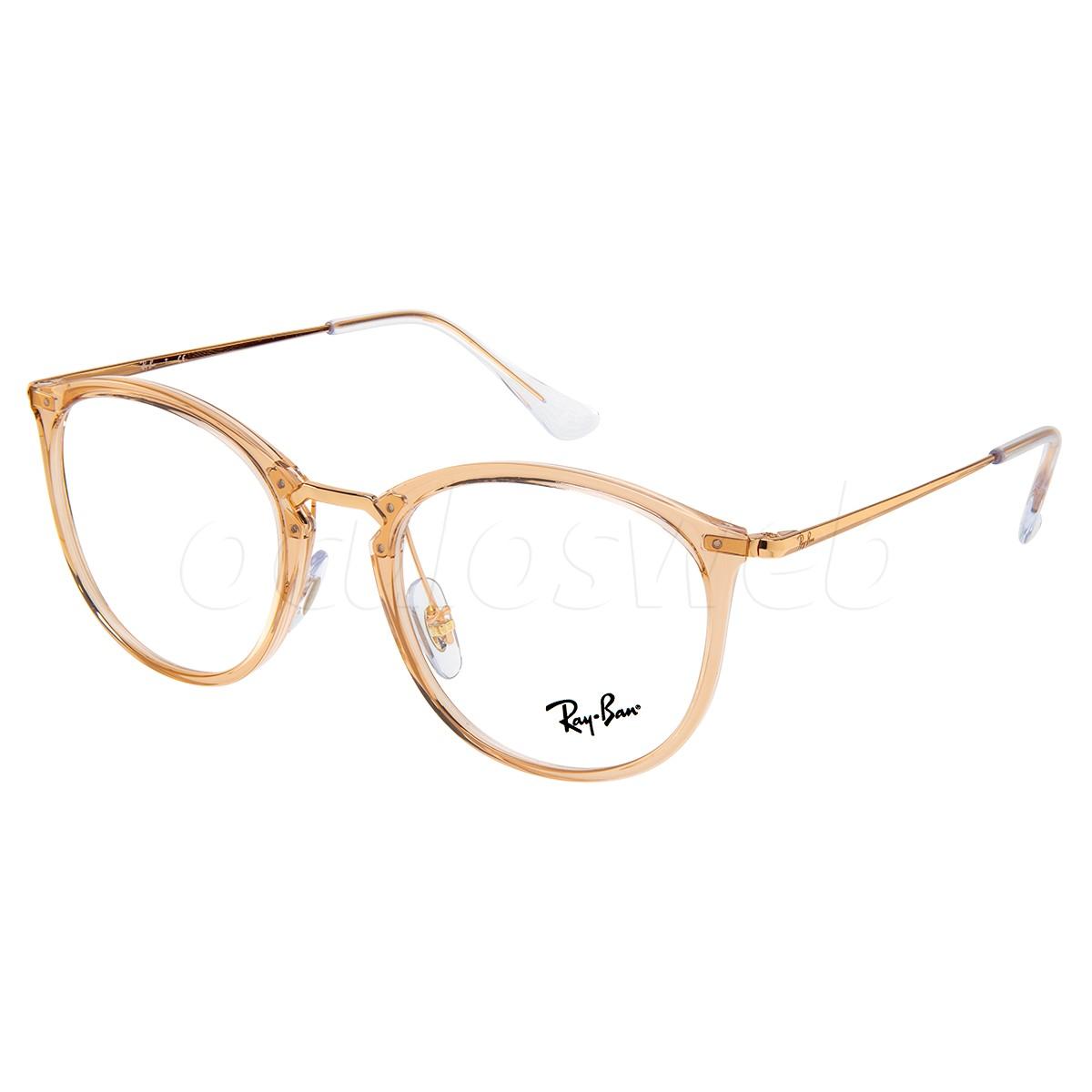 Óculos de Grau Ray Ban RX7140 Redondo Marrom Translúcido