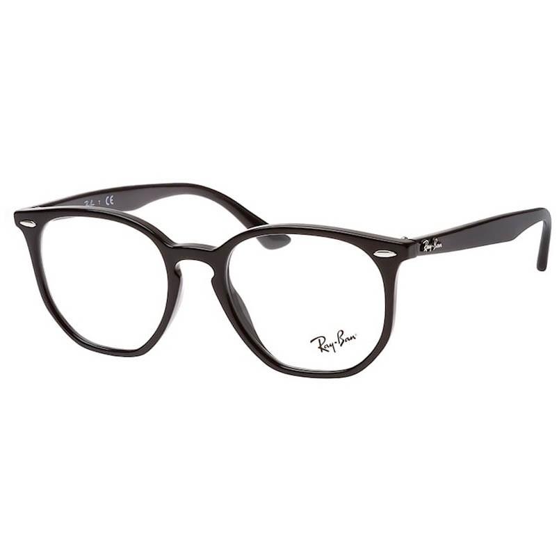 Óculos de Grau Ray Ban RX7151 Hexagonal Preto Brilho