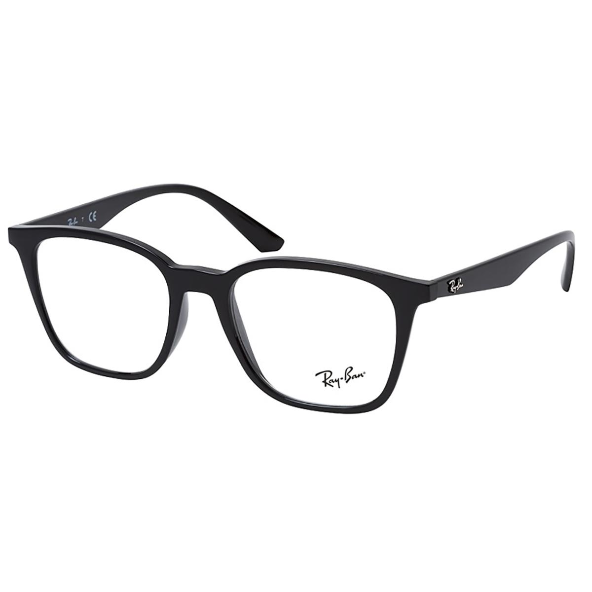 Óculos de Grau Ray Ban RX7177L Quadrado Preto Brilho Tamanho 51
