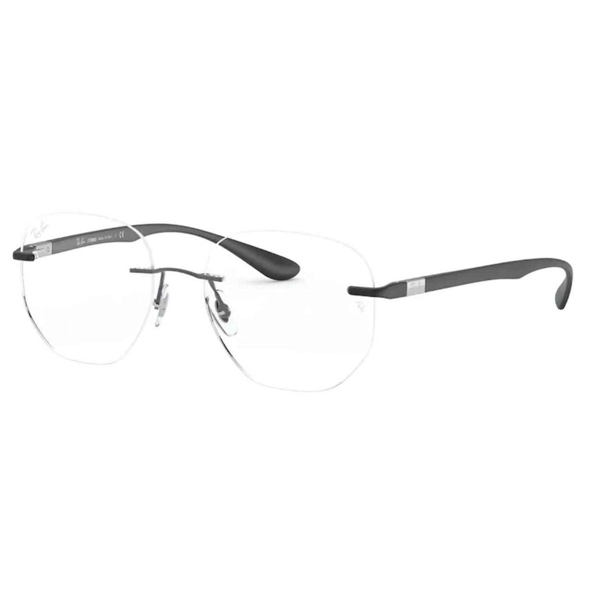 Óculos de Grau Ray Ban RX8766 Titanium Redondo Preto Fosco