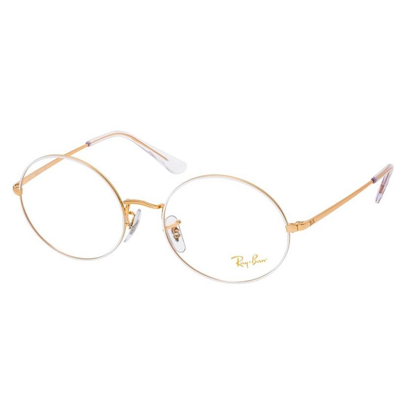 Óculos de Grau RayBan Oval RX1970V Branco com Dourado
