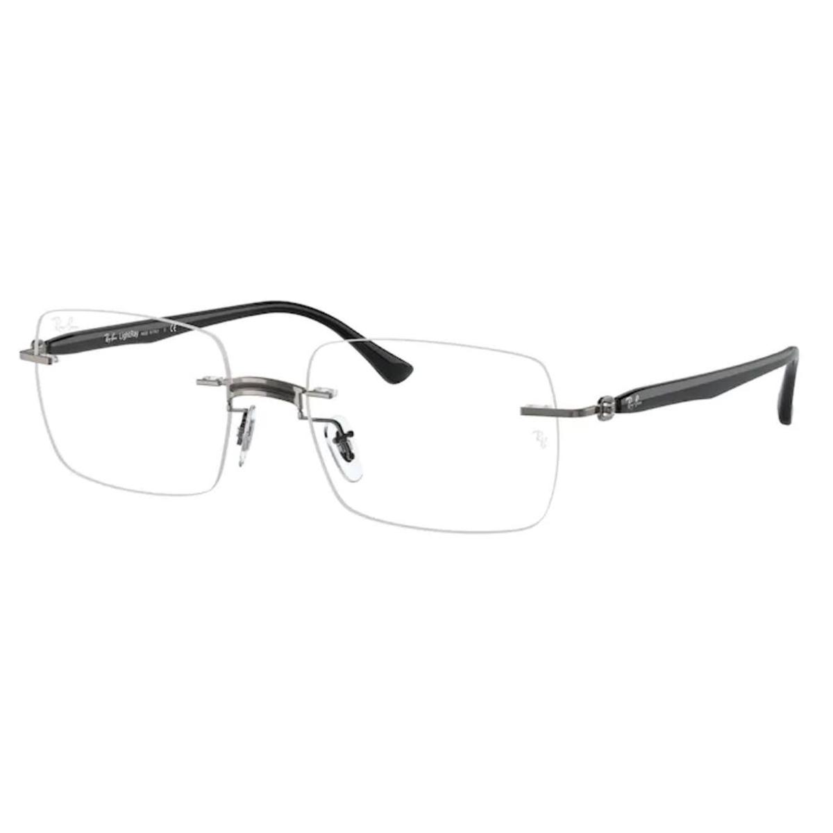 Óculos de Grau RayBan Quadrado Titanium RX8767 Cinza e Preto
