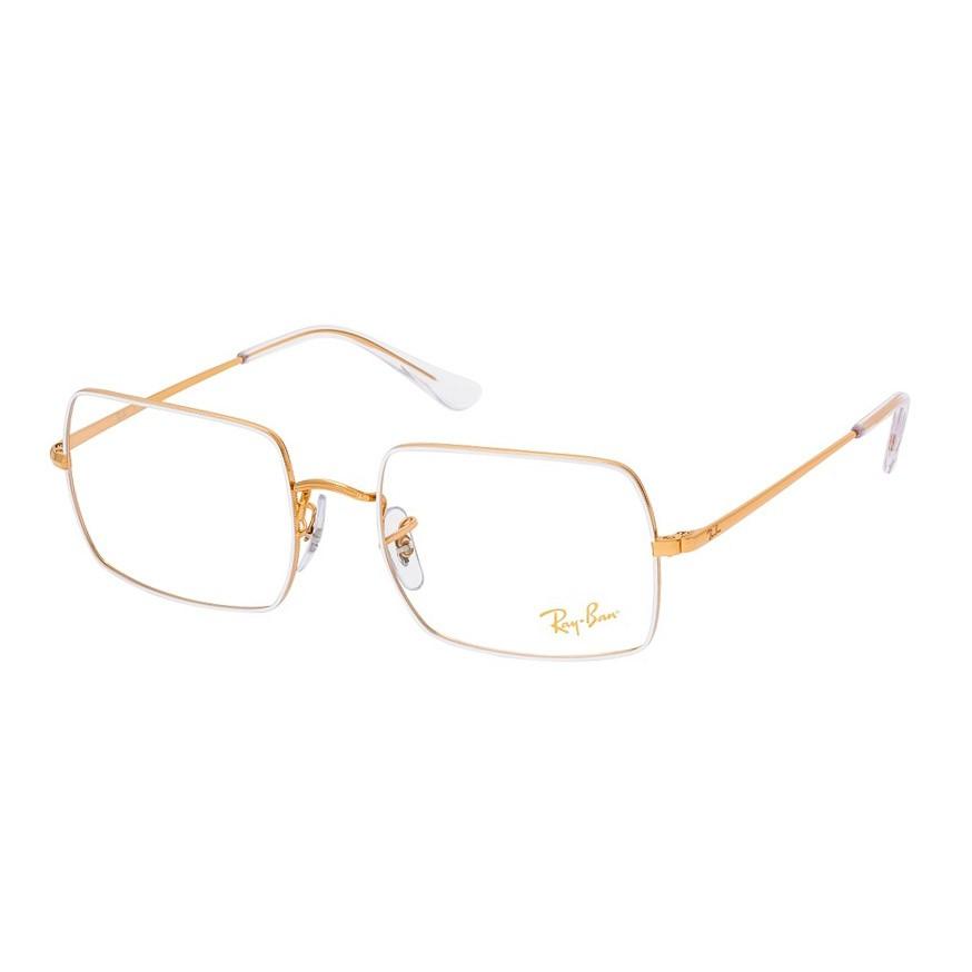 Óculos de Grau RayBan Retangular RX1969V Branco com Dourado