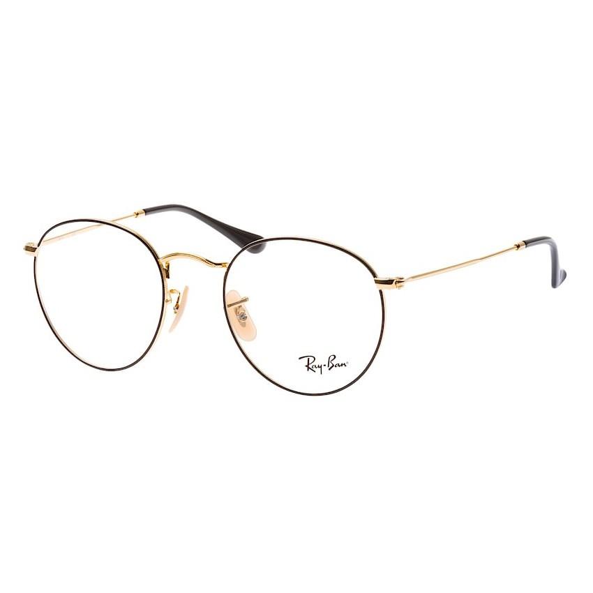 Óculos de Grau RayBan Round Metal RX3447V Preto com Dourado