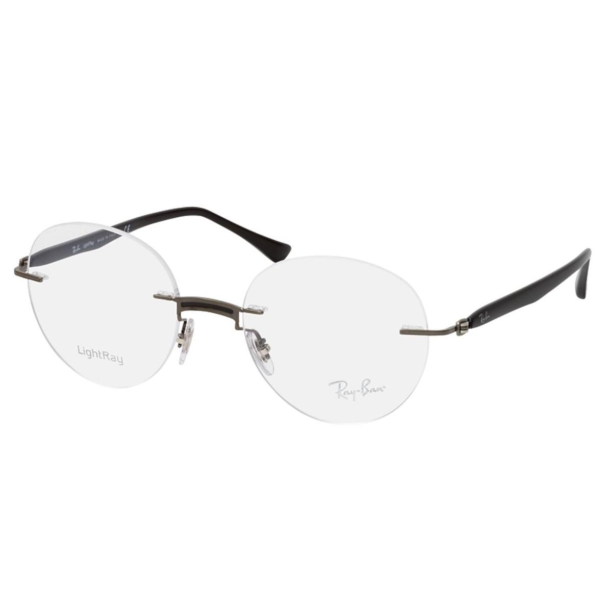 Óculos de Grau RayBan RX8768 Redondo Titânio Preto Fosco