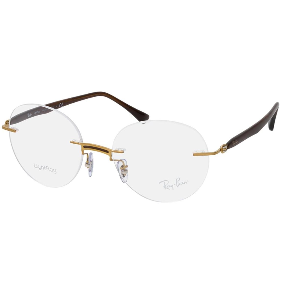 Óculos de Grau Redondo RayBan RX8768 Titanium Dourado e Marrom