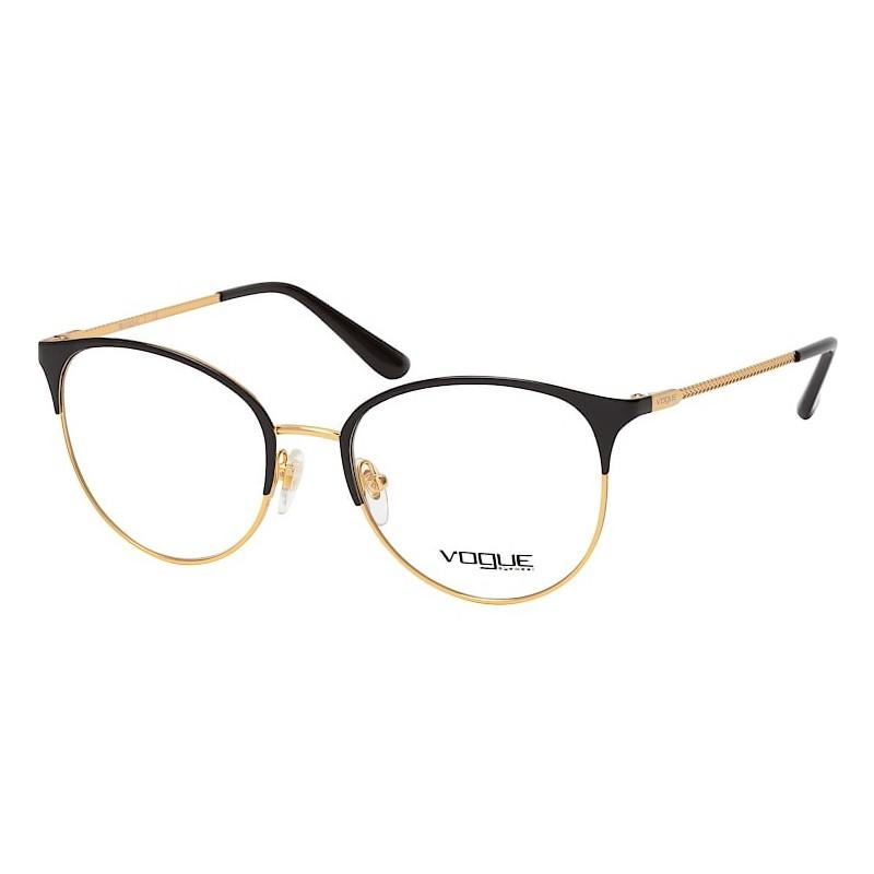 Óculos de Grau Redondo Vogue VO4108 Preto Brilho com Dourado